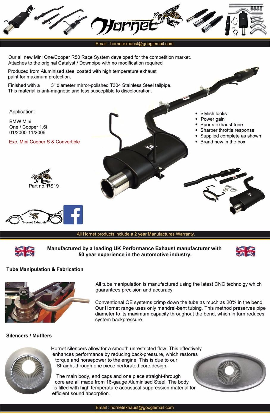 Details about BMW Mini Cooper / Mini One R50 (2000-2006) Hornet Exhaust -  Full Race System
