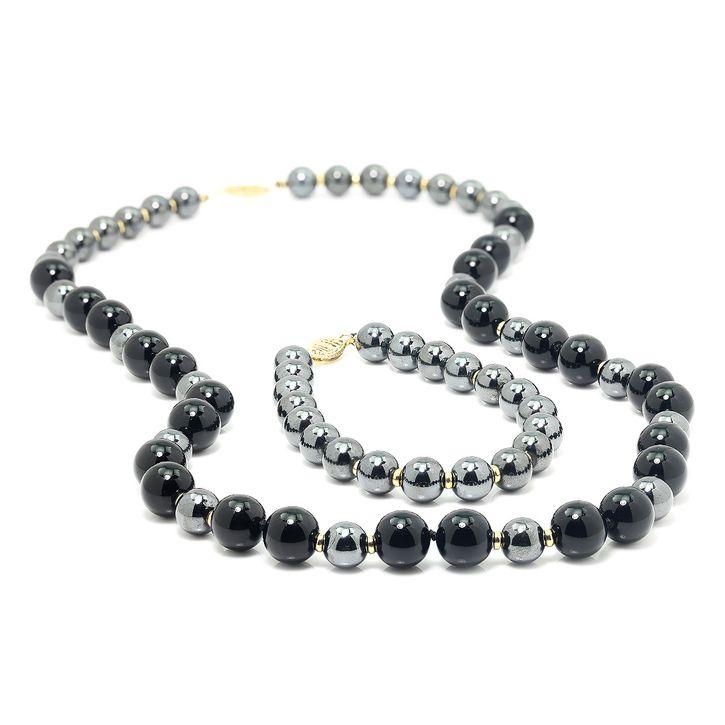 bade3753d4054d Hematite & Onyx Bead Necklace & Bracelet Set with 14K Yellow Gold   eBay