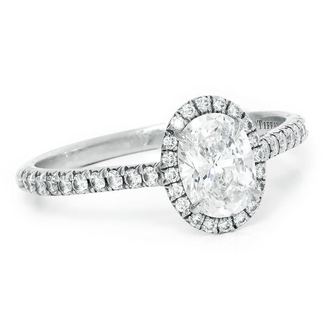 Tiffany & Co Soleste Halo Oval Engagement Ring In Platinum