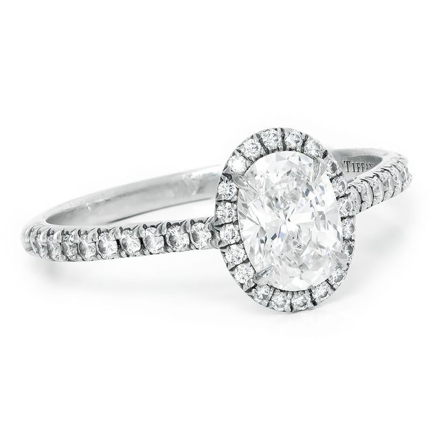Tiffany Amp Co Soleste Halo Oval Engagement Ring In Platinum