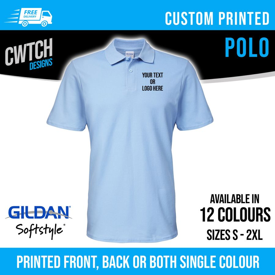 Printed Polo Shirts Personalised Custom