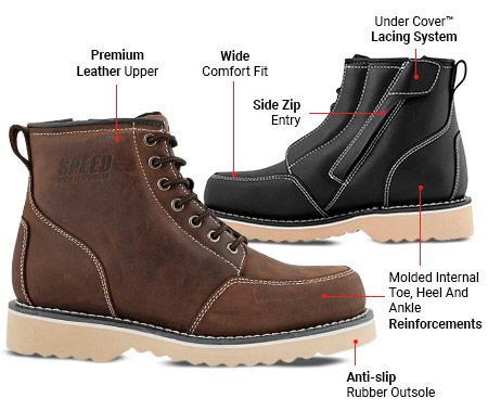Motorcycle Leather Boots   Harley Cruiser Men's Shoes Black Brown Worker Street