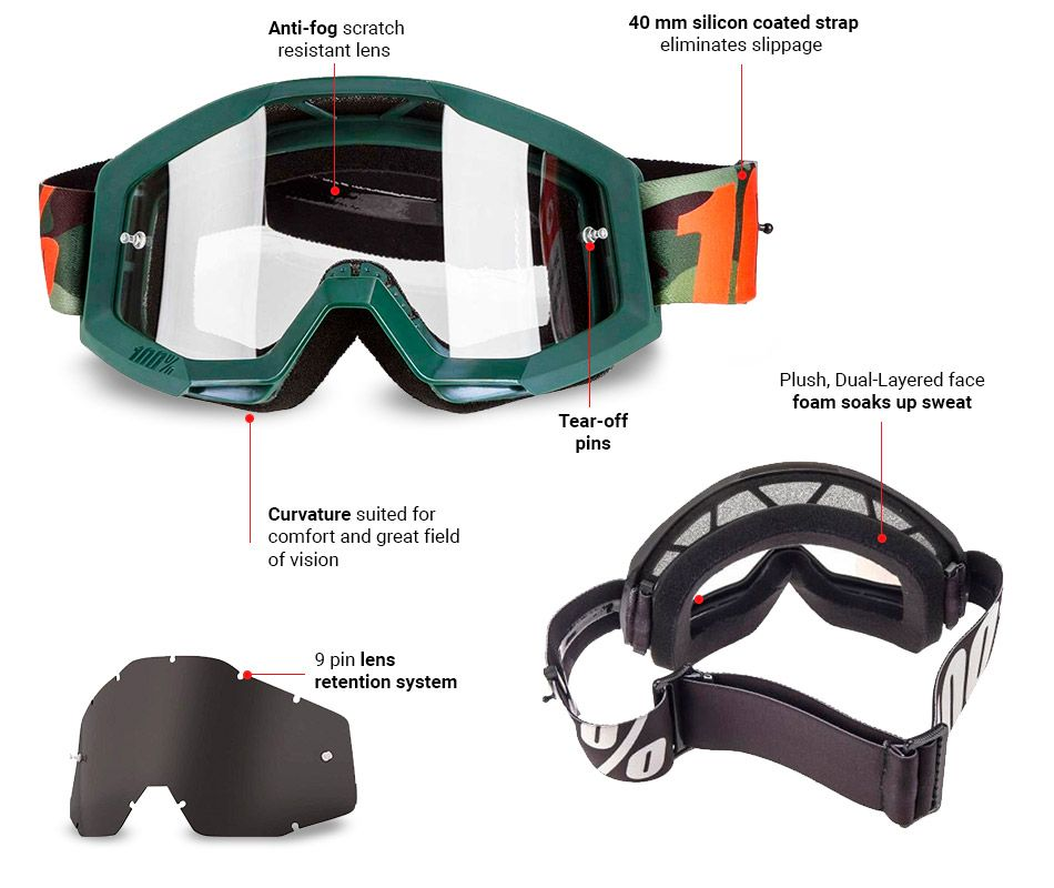 100/% Strata Slash Mirrored Off Road Dirt Bike Racing Motocross Goggles