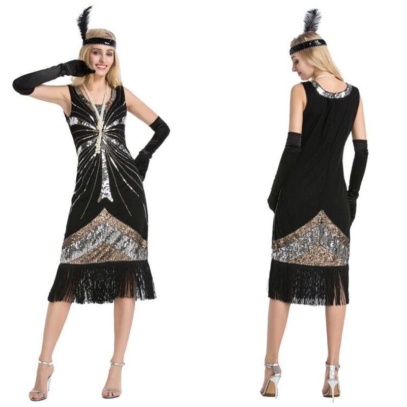 Details About Women S Vintage 1920s Style Gatsby Sequin Fler Dress Tail Party Dresses