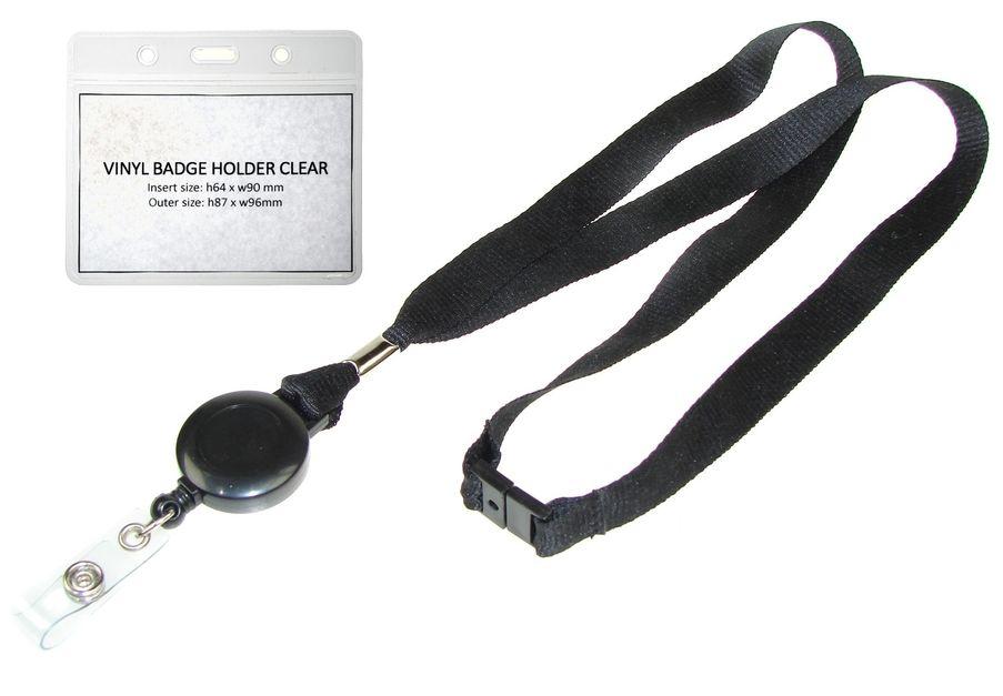 BLACK 10 BREAKAWAY NECK LANYARD WITH HOOK 10 CLEAR VINYL ID BADGE HOLDERS