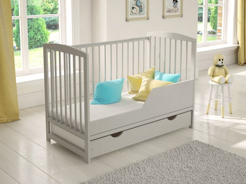 Baby Cot Bed 120x60cm with Covered Drawer & Deluxe Aloe Vera Foam Mattress
