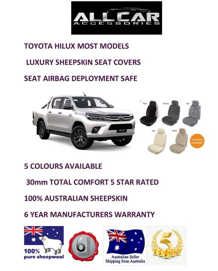 seat Airbag safe. Sheepskin Car Seatcovers for Toyota Hilux 5 colours