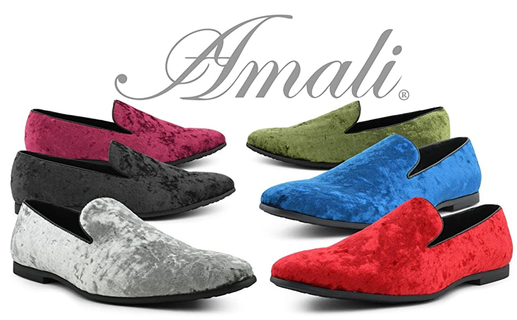 Amali Velvet Tuxedo Shoes Mens Formal Fashion Slip On Loafers 9 Colors Avail.
