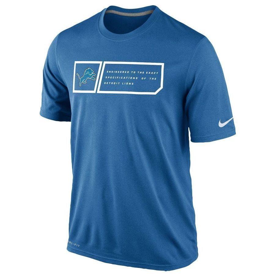 Nike Mens Detroit Lions NFL Dri-Fit Short Sleeve Crew Neck T-Shirt Cotton//Polyester Blend
