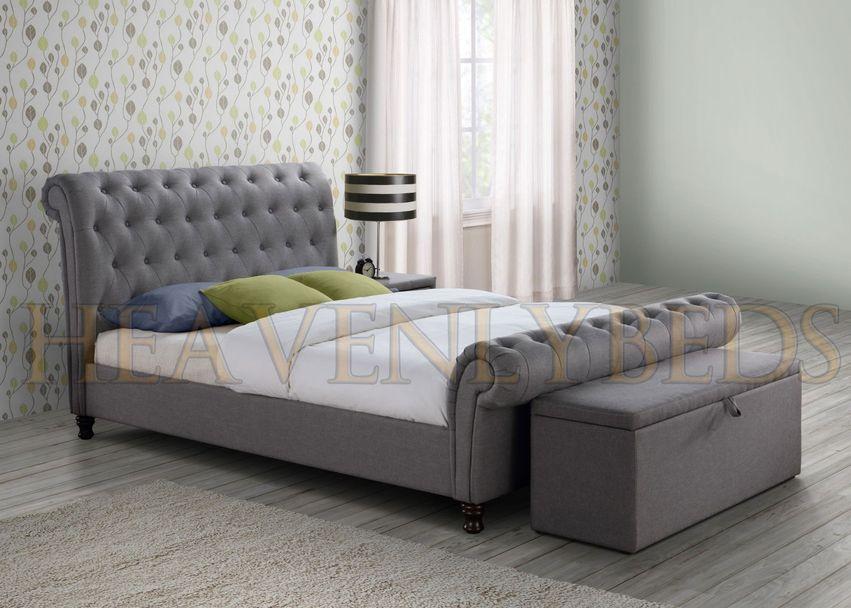 Chesterfield upholstered fabric bed frame velvet chenille double super king size ebay Bedroom furniture chesterfield