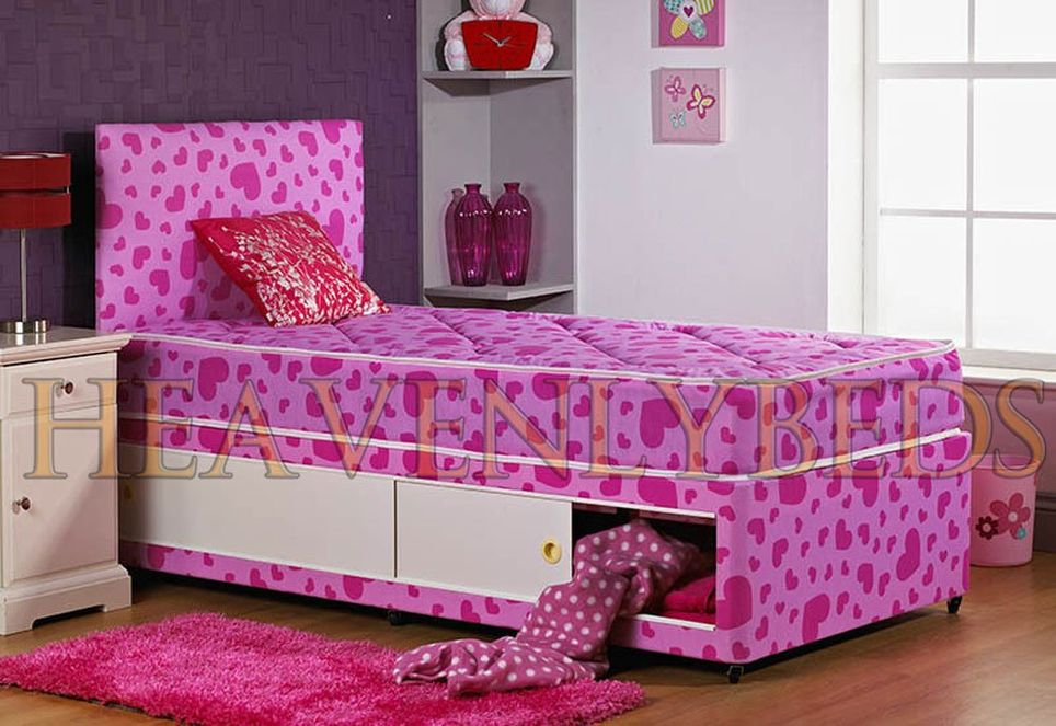 Single Divan Bed With Mattress With Drawers Option Girls