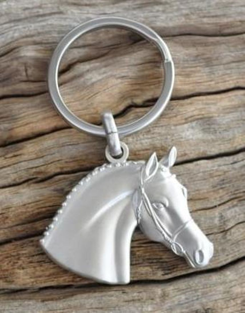 Details about Horse Head Keyring   Equestrian Key Ring - Matte Silver 9a930b415cf9
