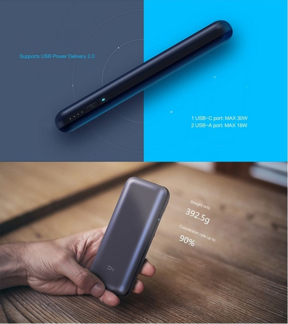 Xiaomi Zmi Power Bank Usb External Mobile Charger For Cell Phones Mi Powerbank 20000mah Dual Ports Original Specifications