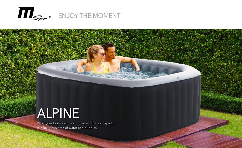 2018 mspa alpine delight d al04 2 2 inflatable hot tub jacuzzi bubble spa square ebay. Black Bedroom Furniture Sets. Home Design Ideas