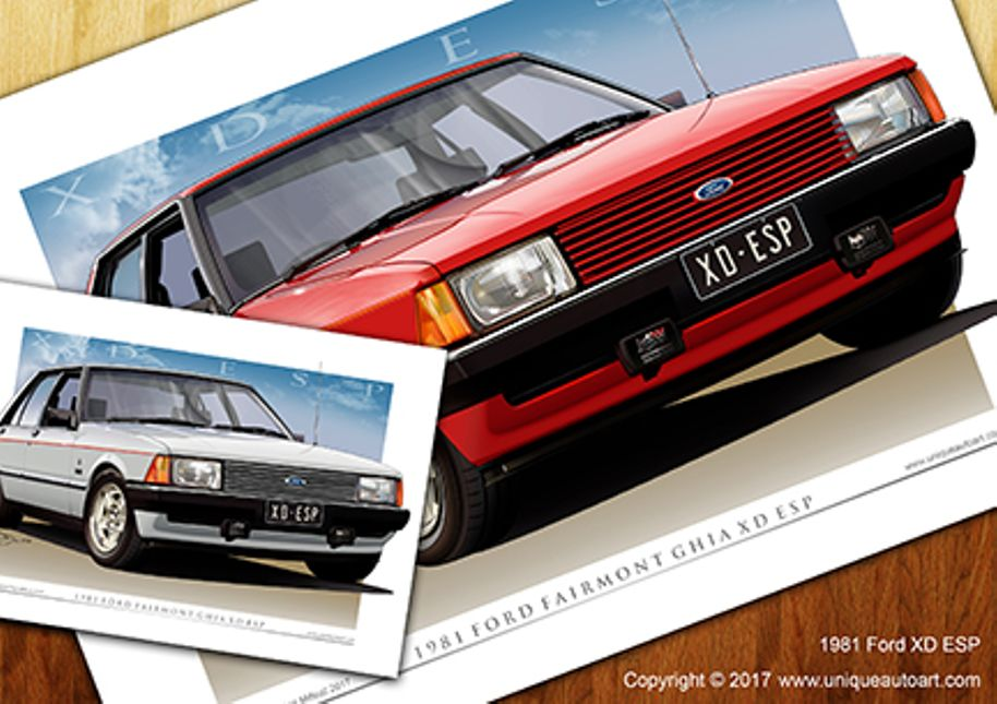 Details about XD ESP Print - Classic Ford XD Fairmont Ghia Digital Car  Drawing ( 5 Colours )