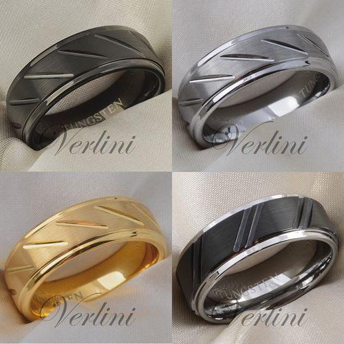 8 Mm Brushed Eros Tungsten Ring Black Silver Gold Wedding