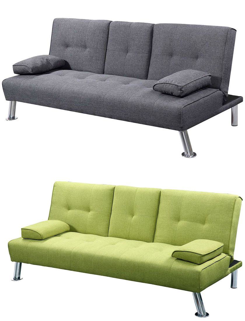 Modern Cool 2 / 3 Seater Small Single Sofa Bed Lime Green