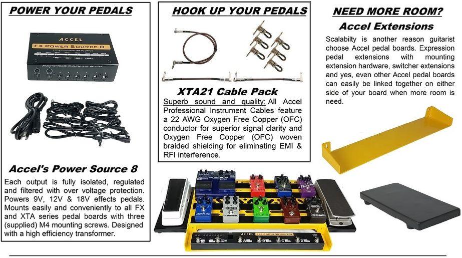 Cables /& Tote Bundle Accel XTA25 Pro Tier Pedal Board FX Power Source 8