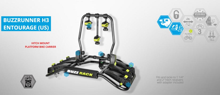 BUZZ RACK Entourage 3-Bike Platform Hitch Rack BUZZRUNNER H3