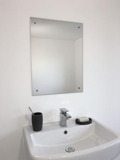 frameless unframed bathroom mirror with pre drilled holes 11029