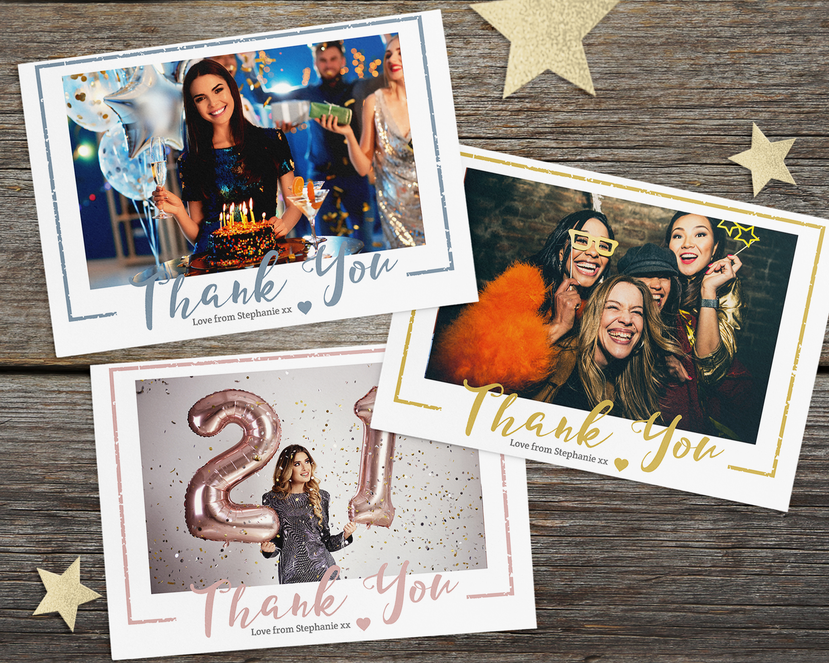 Personalised Photo Birthday Thank You Cards H7 30th, 21st All ages 18th