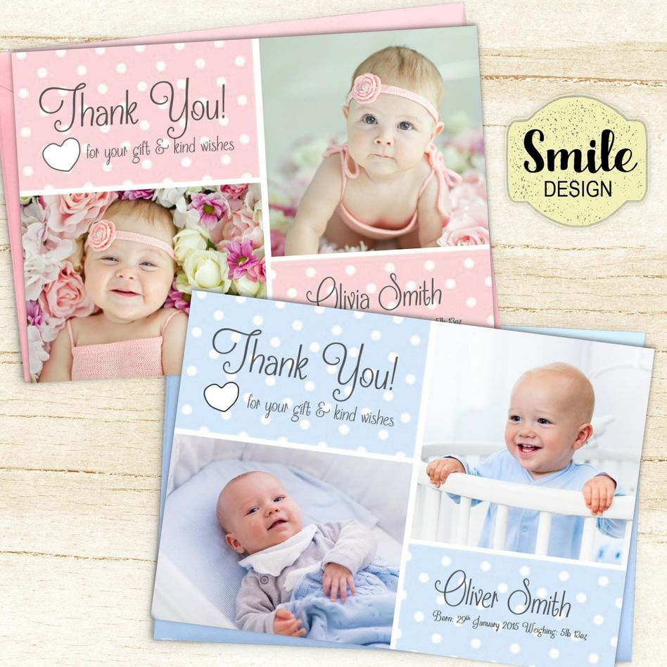 personalised new baby thank you cards  announcement inc