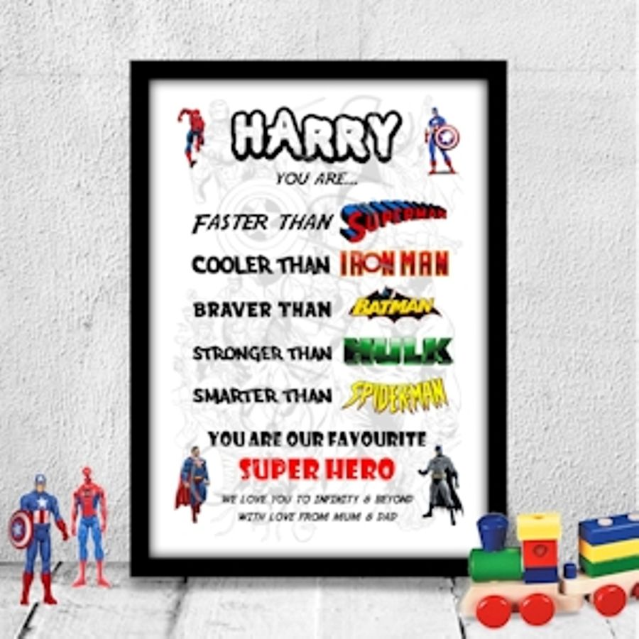 Personalised Birthday gift for child, son, brother boy SUPER HERO A4 ...