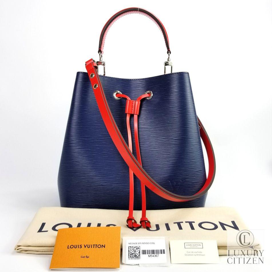 78565c99449 Details about NEW 2018 AUTHENTIC LOUIS VUITTON Epi Leather NeoNoe Bucket  Shoulder Bag Blue Red