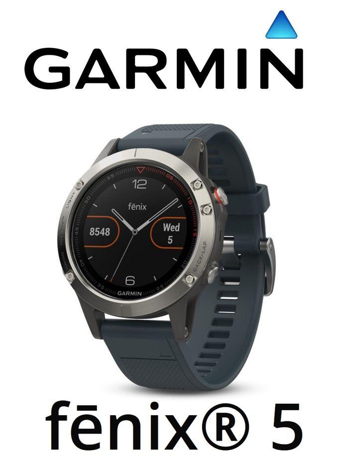 9f2e8af4a81 Details about Garmin Fenix 5 GPS Reloj de Muñeca HR Azul Granito Banda  Multi Sport Fitness