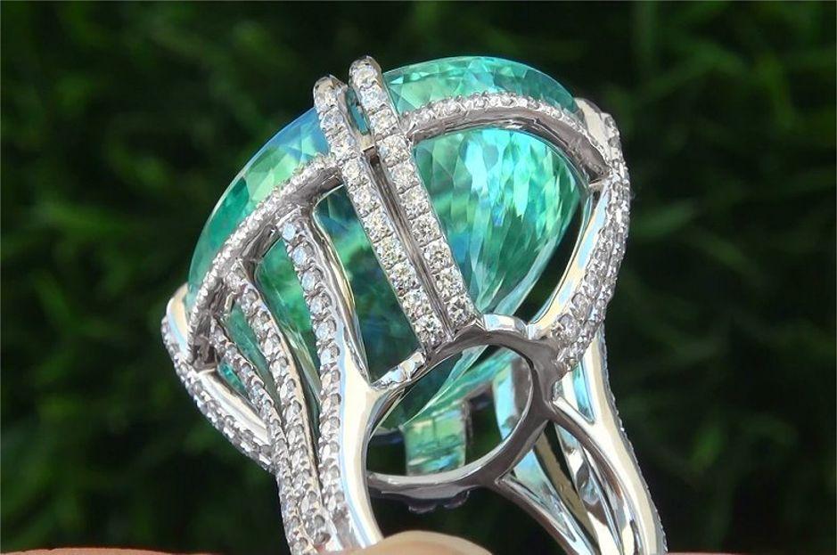Gia Certified Flawless Paraiba Tourmaline Diamond Platinum