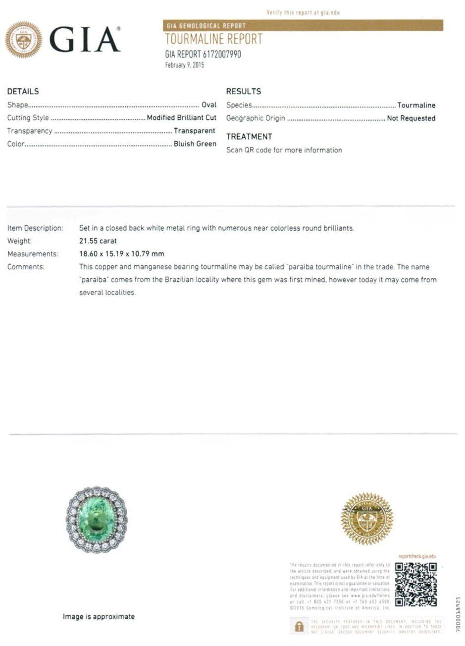 Gia Natural Paraiba Tourmaline Diamond Platinum Estate