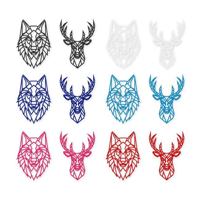 Geometric Animal Head Stag & Wolf Deer Laser Cut Acrylic ...