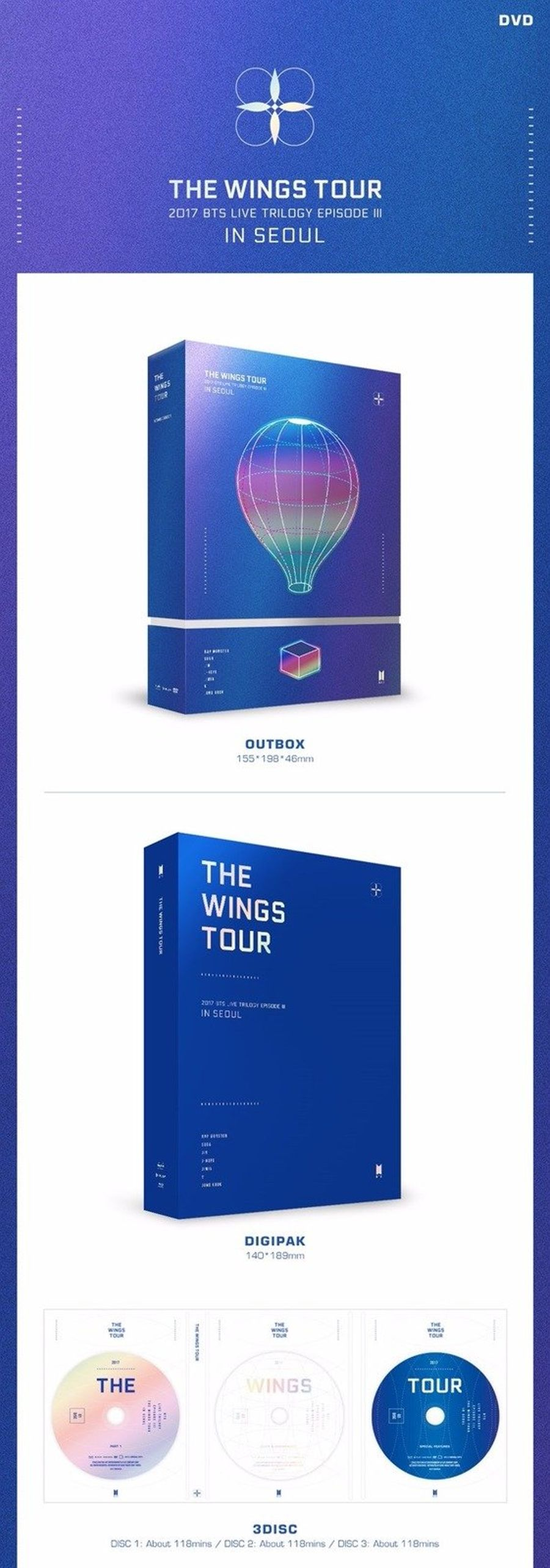 [BTS] The Wings Tour in Seoul Concert DVD Sealed New 2017