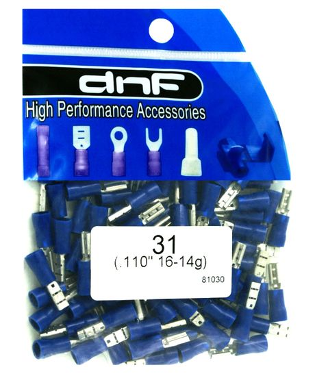 """100 PACK 16-14 AWG QUICK DISCONNECT VINYL FEMALE .110/"""" BLUE SPADE CONNECTORS"""