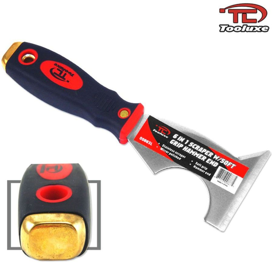 4 TOOLUXE RAZOR BLADE SCRAPERS STAINLESS WITH SOFT GRIP