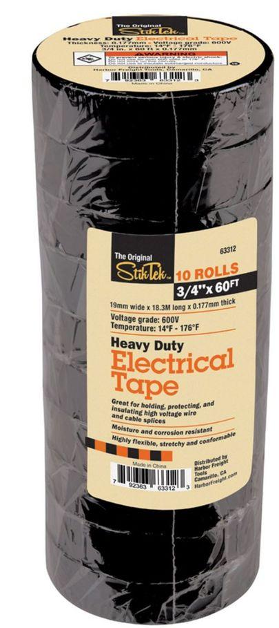 The Original StikTek 3//4 In x 60 Ft Industrial Grade Electrical Tape 10 Pk Black