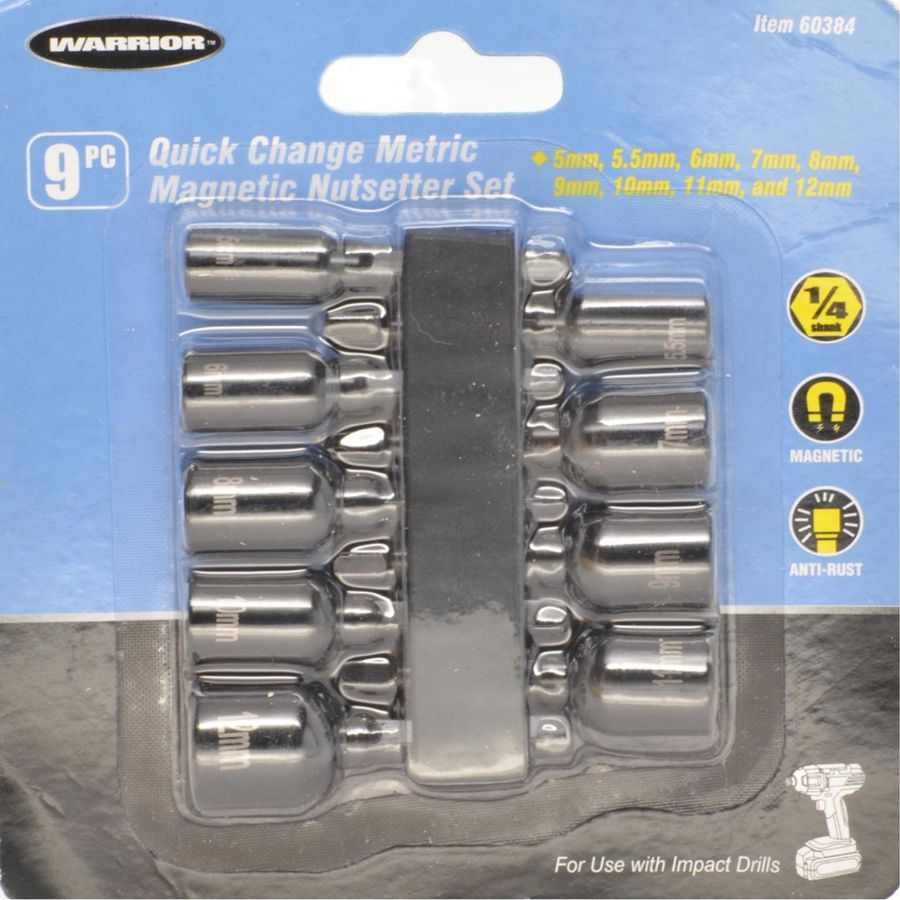 WARRIOR 68519 Metric Quick Release Magnetic Nutsetter Set 9 Pc hand tools
