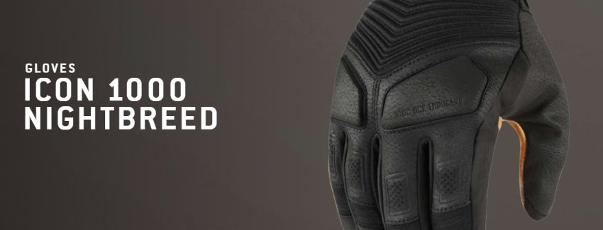 Icon 1000 Nightbreed Mens Motorbike Motorcycle Gloves BlackAll Sizes