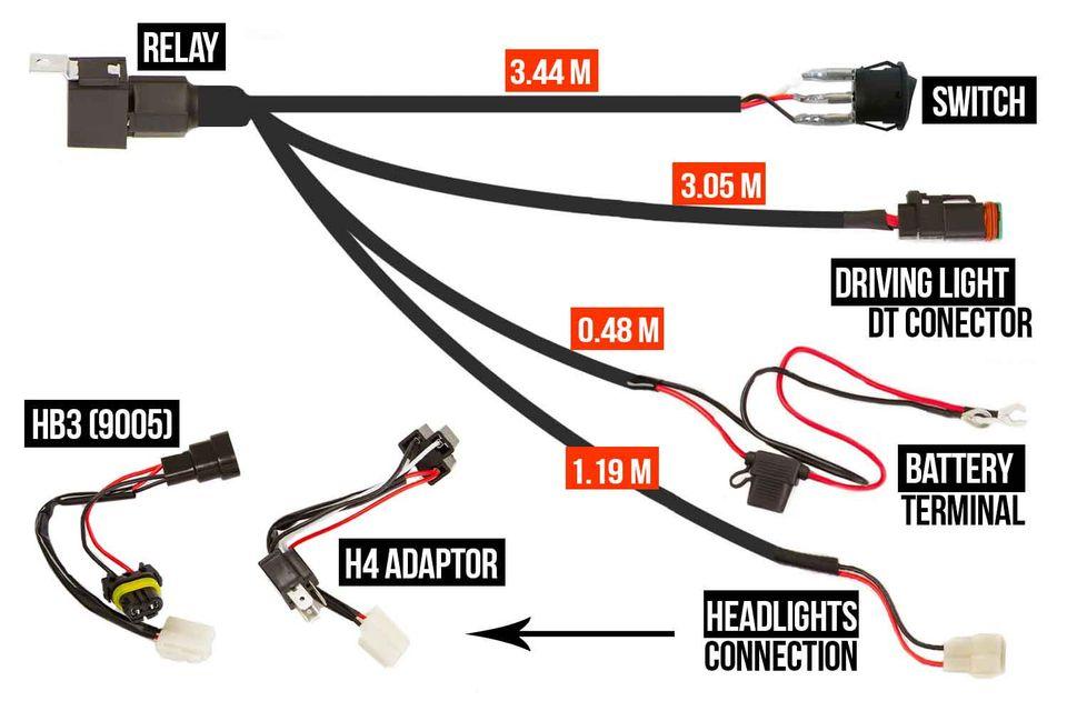 Wiring Harness Loom High Beam Led Driving Light Bar 40a